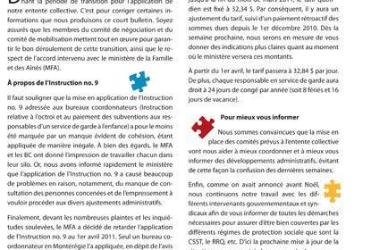 Bulletin Info-RSG, janvier 2011