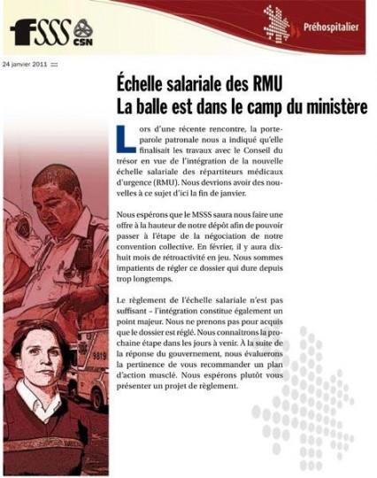 Échelle salariale des RMU : la balle est dans le camp du ministère