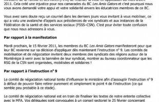 Bulletin du 13 février 2011 : l'instruction no 9 et la manifestation en Montérégie