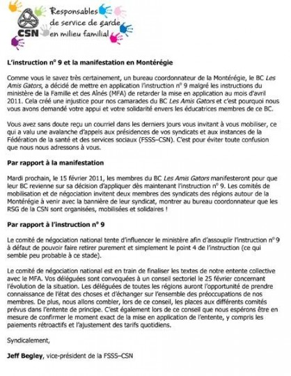 Bulletin du 13 février 2011 : l'instruction no 9 et la manifestation en Montérégie