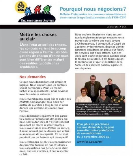 Bulletin d'information des RI-RTF, janvier 2011