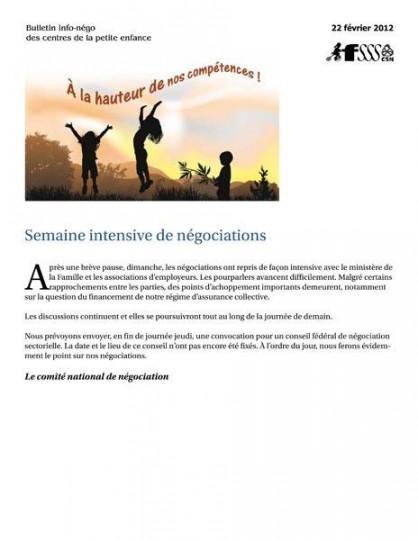 Bulletin Info-négo des CPE du 22 février 2012