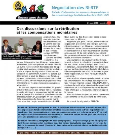 Bulletin d'information des RI-RTF, 24 mars 2011