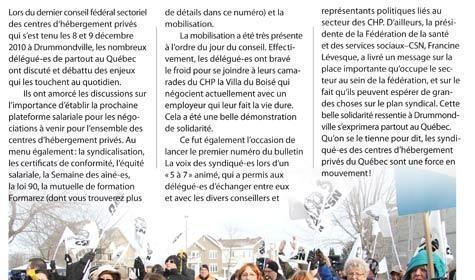 Journal La voix des syndiqué-es, mars 2011