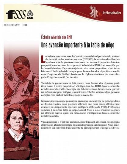 Bulletin d'info RMU : une avancée importante à la table de négociation