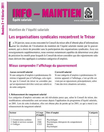 Info-maintien équité : les syndicats rencontrent le Conseil du trésor – février 2011
