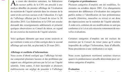 Info-maintien équité du 14 mars 2011 : un second affichage d'ici le 20 mars