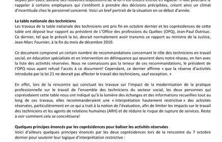 Bulletin FSSS sur la modernisation de la pratique professionnelle, janvier 2011