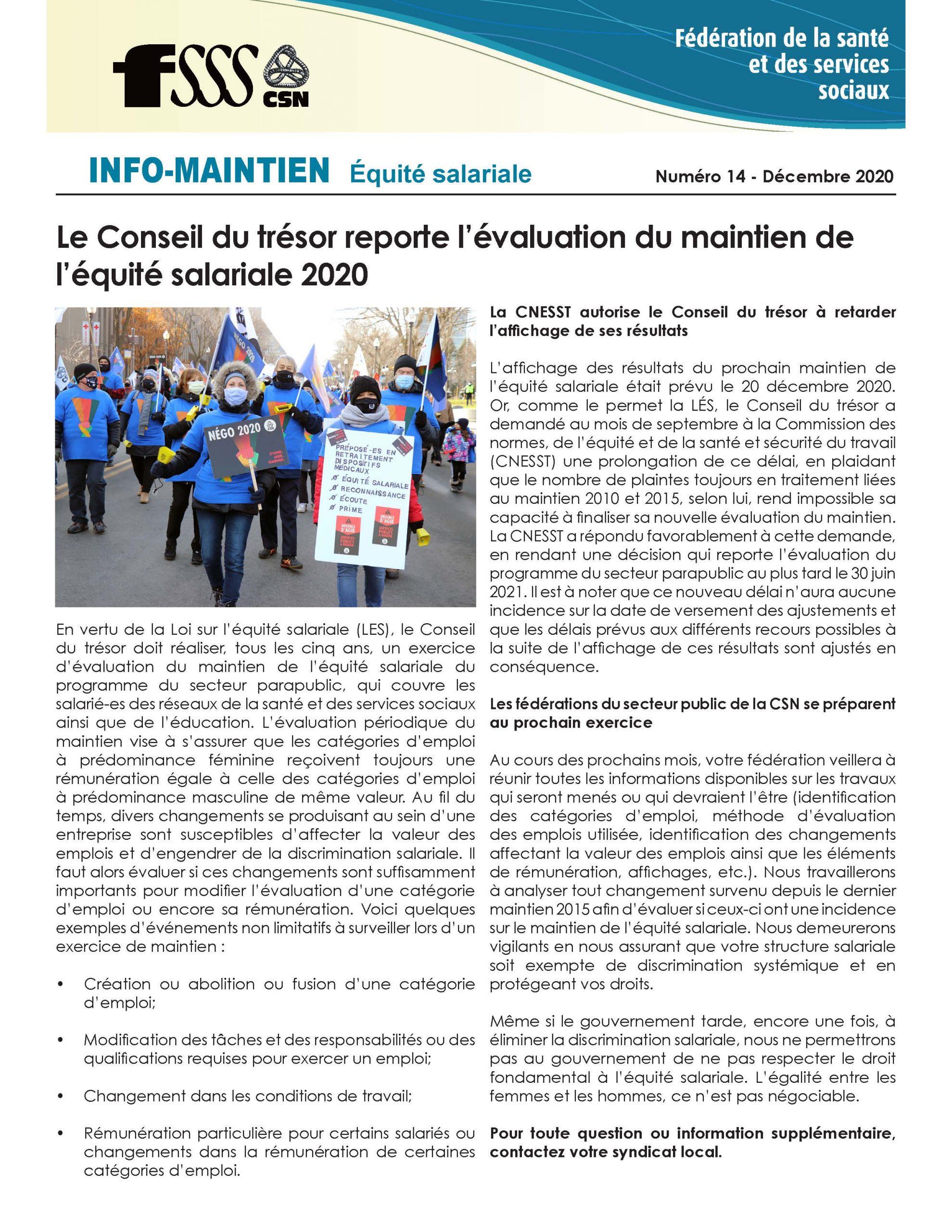 Bulletin Info-maintien de décembre 2020